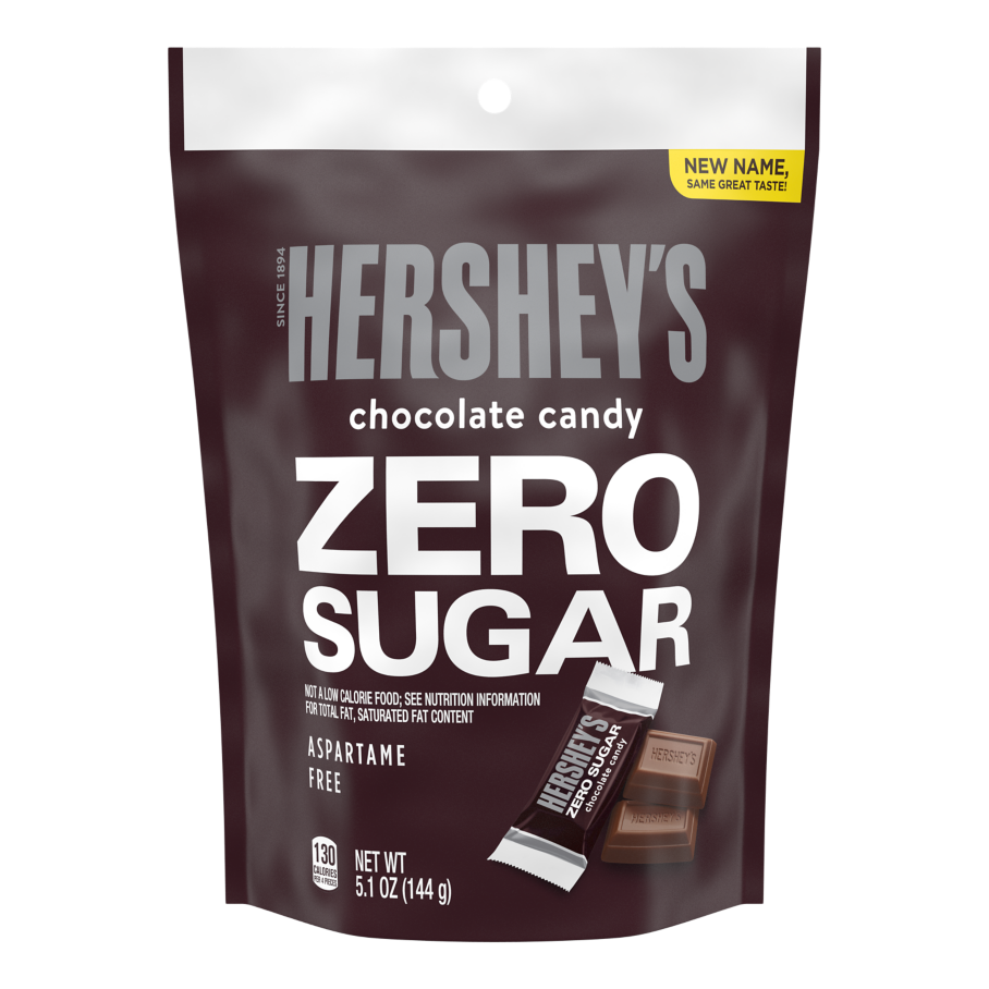 HERSHEY'S Zero Sugar Chocolate Candy Bars, 5.1 oz bag - Front of Package