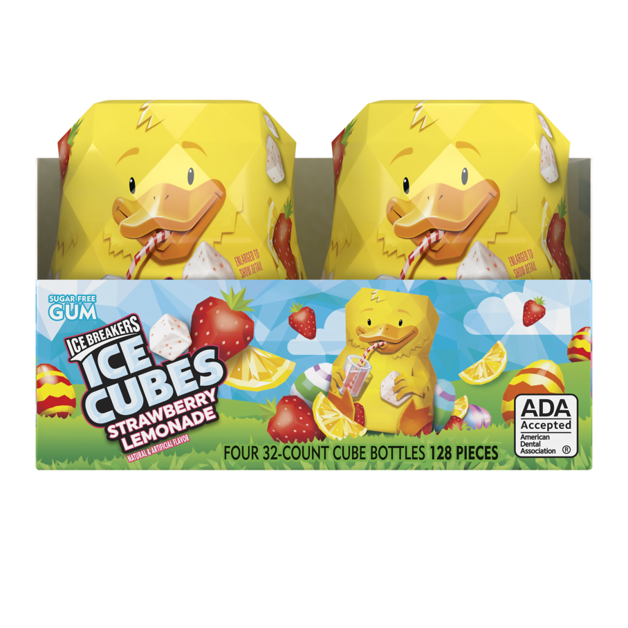 ICE BREAKERS ICE CUBES Strawberry Lemonade Sugar Free Gum, 10.4 oz box, 32 pieces - Front of Package