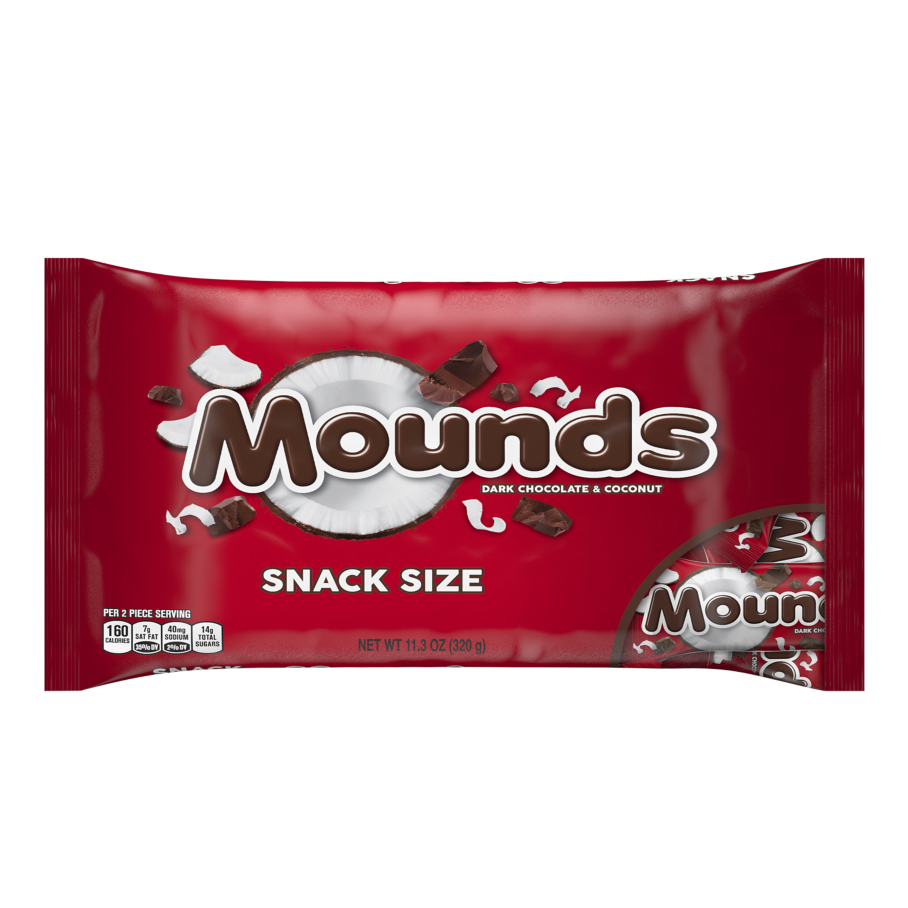 MOUNDS Dark Chocolate and Coconut Snack Size Candy Bars, 11.3 oz bag - Front of Package