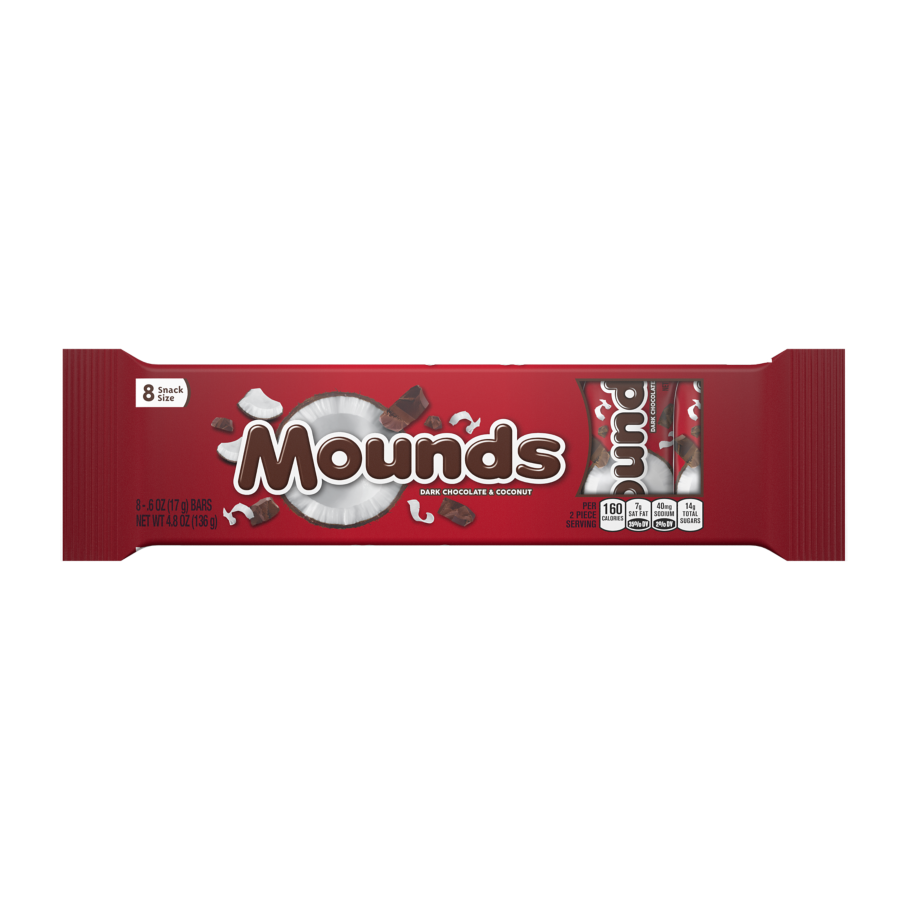 MOUNDS Dark Chocolate and Coconut Snack Size Candy Bars, 4.8 oz, 8 pack - Front of Package
