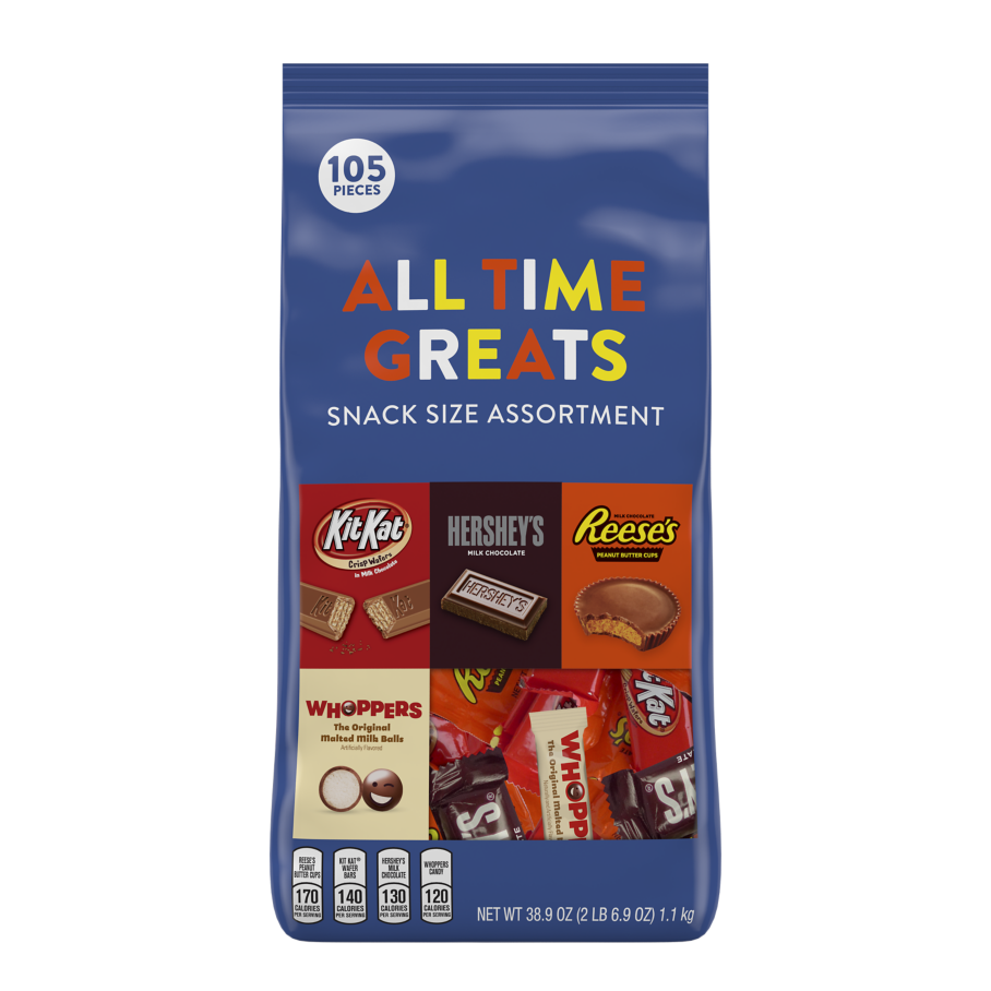 Hershey All Time Greats Snack Size Assortment, 38.9 oz bag, 105 pieces - Front of Package