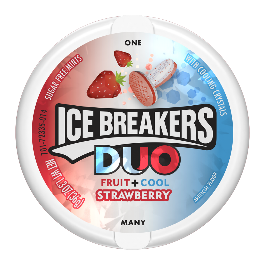 ICE BREAKERS DUO Strawberry Sugar Free Mints, 1.3 oz puck - Front of Package
