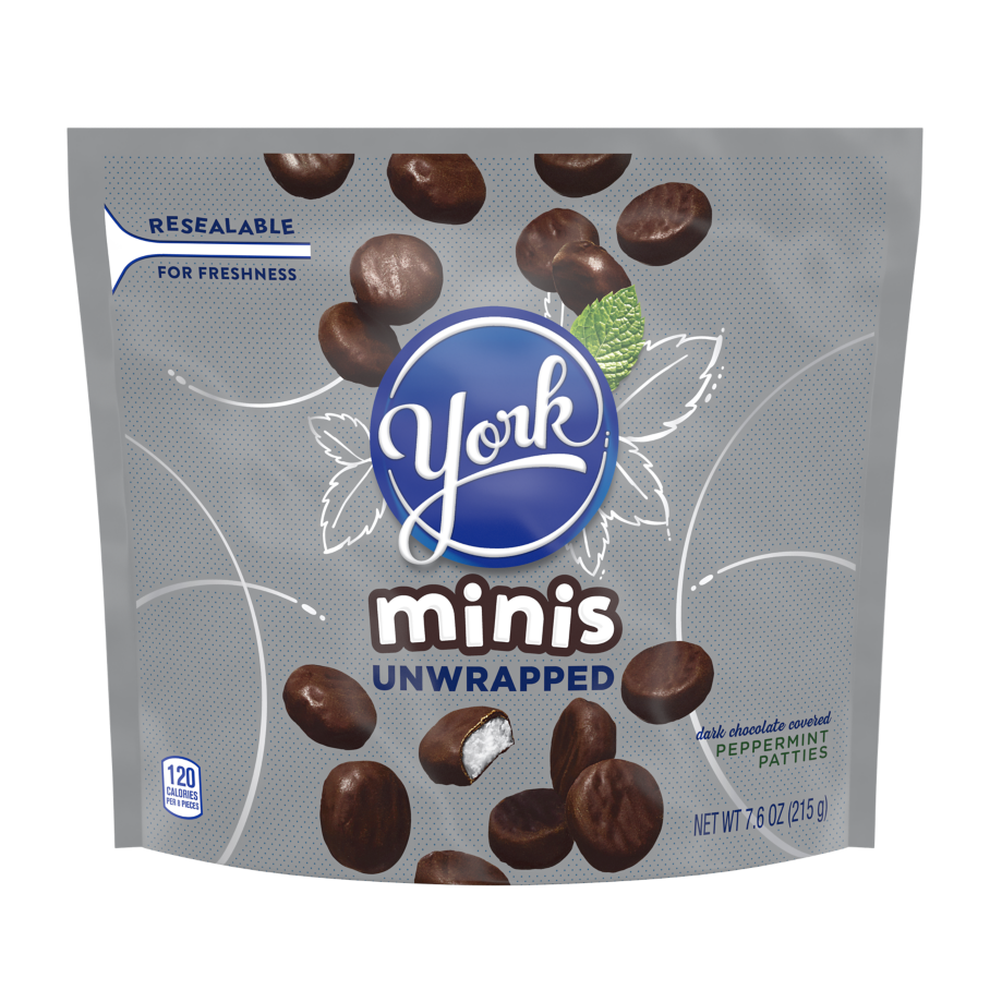 YORK Minis Theatre Box Dark Chocolate Peppermint Patties, 2.7 oz box - Front of Package