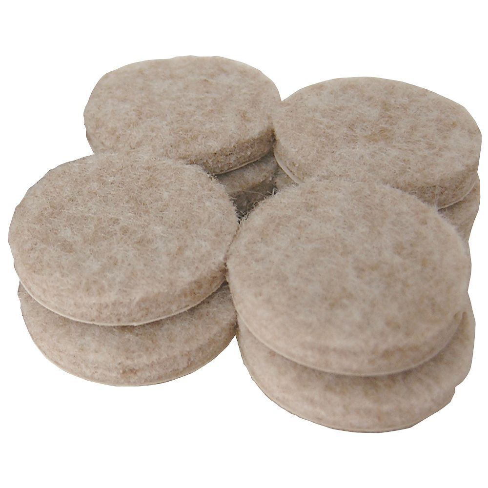 1-1/2 In. Heavy Duty Beige Felt Pads Self Adhesive Round 8-Pack