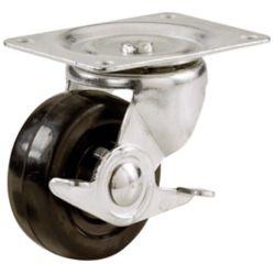 Everbilt Roulette de plaque pivotante en caoutchouc souple de 64 mm avec capacité de charge et frein de 45 kg