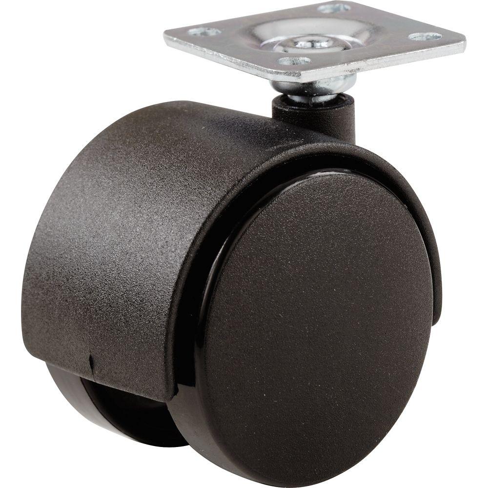 Roulette de roues jumelées noir de 50mm. Plaque.