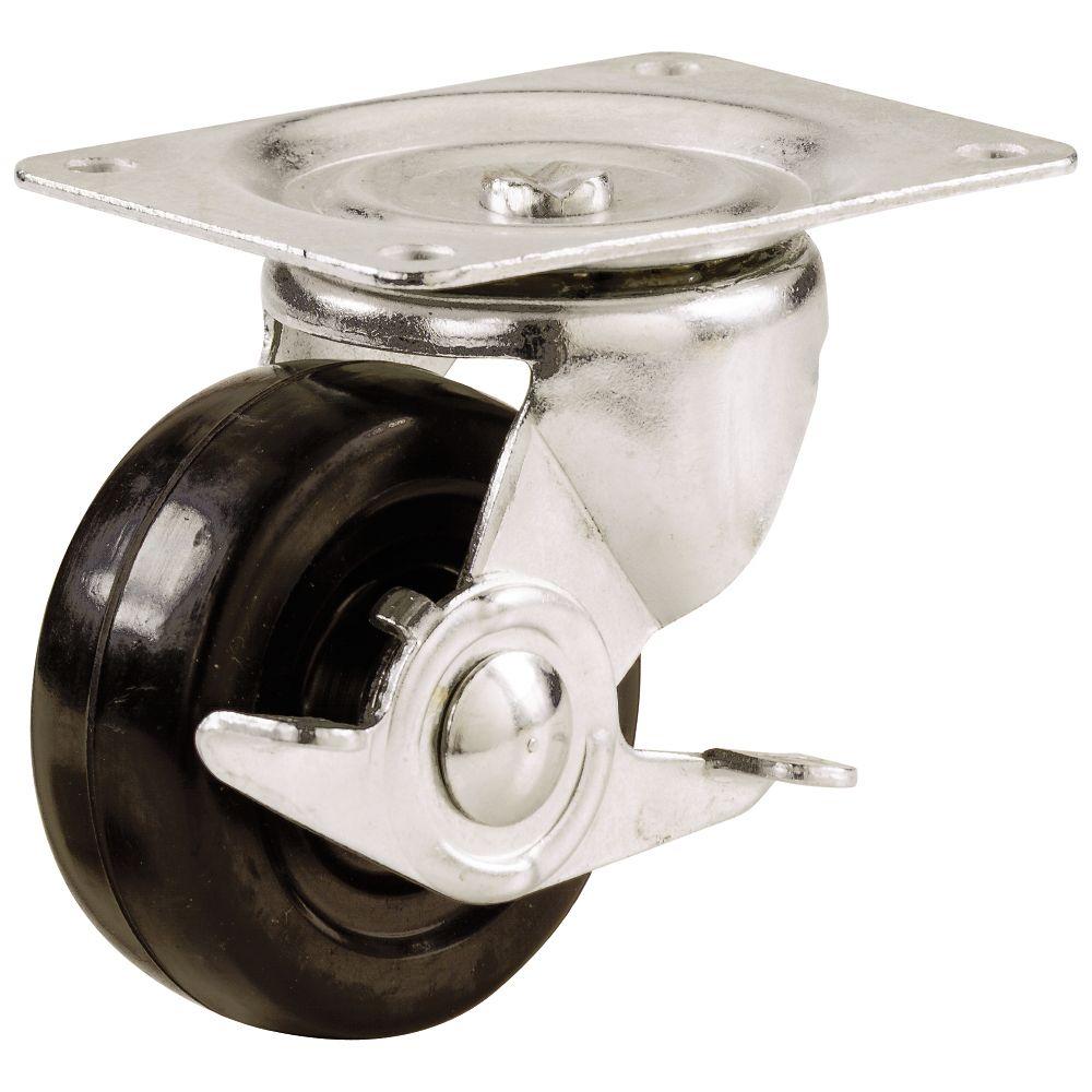 Roulette Pivotante avec frein à usage général.  75mm