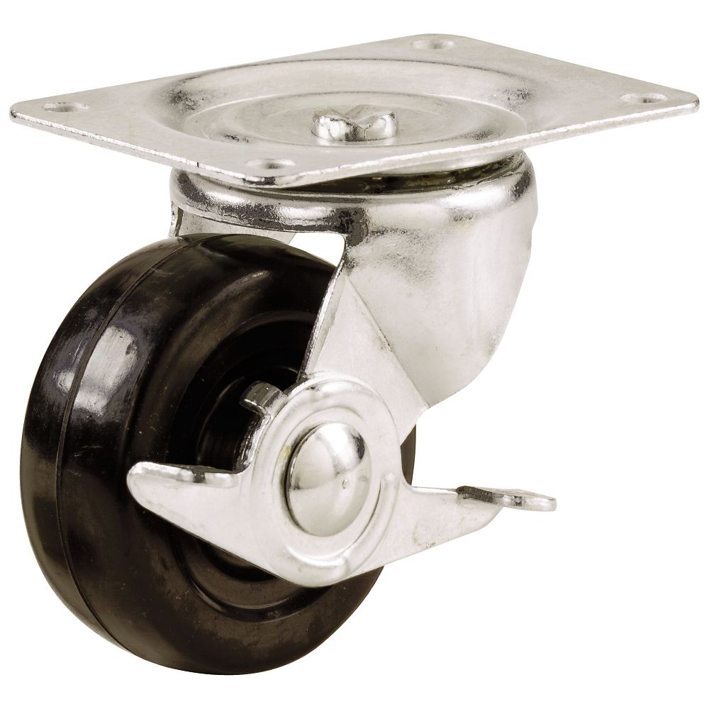Everbilt 3 inch Soft Rubber Swivel Plate Caster with 175 lb. Load Rating and Brake
