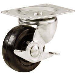 Everbilt 2-inch Soft Rubber Swivel Plate Caster with 90 lbs. Load Rating and Side Brake