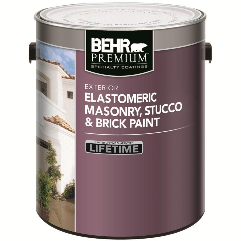 Behr elastomeric masonry stucco brick paint white the home depot canada - Flexible exterior paint ideas ...