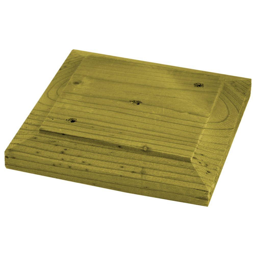 Capuchon de poteau plat, 6x6, en bois traité