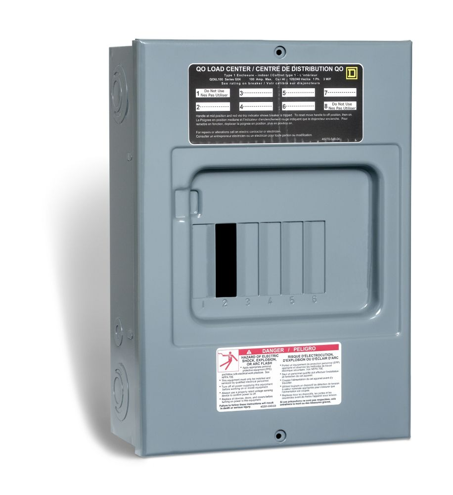 Square D 100 Amp Sub Panel Loadcentre with 6 spaces, 12 Circuits ...