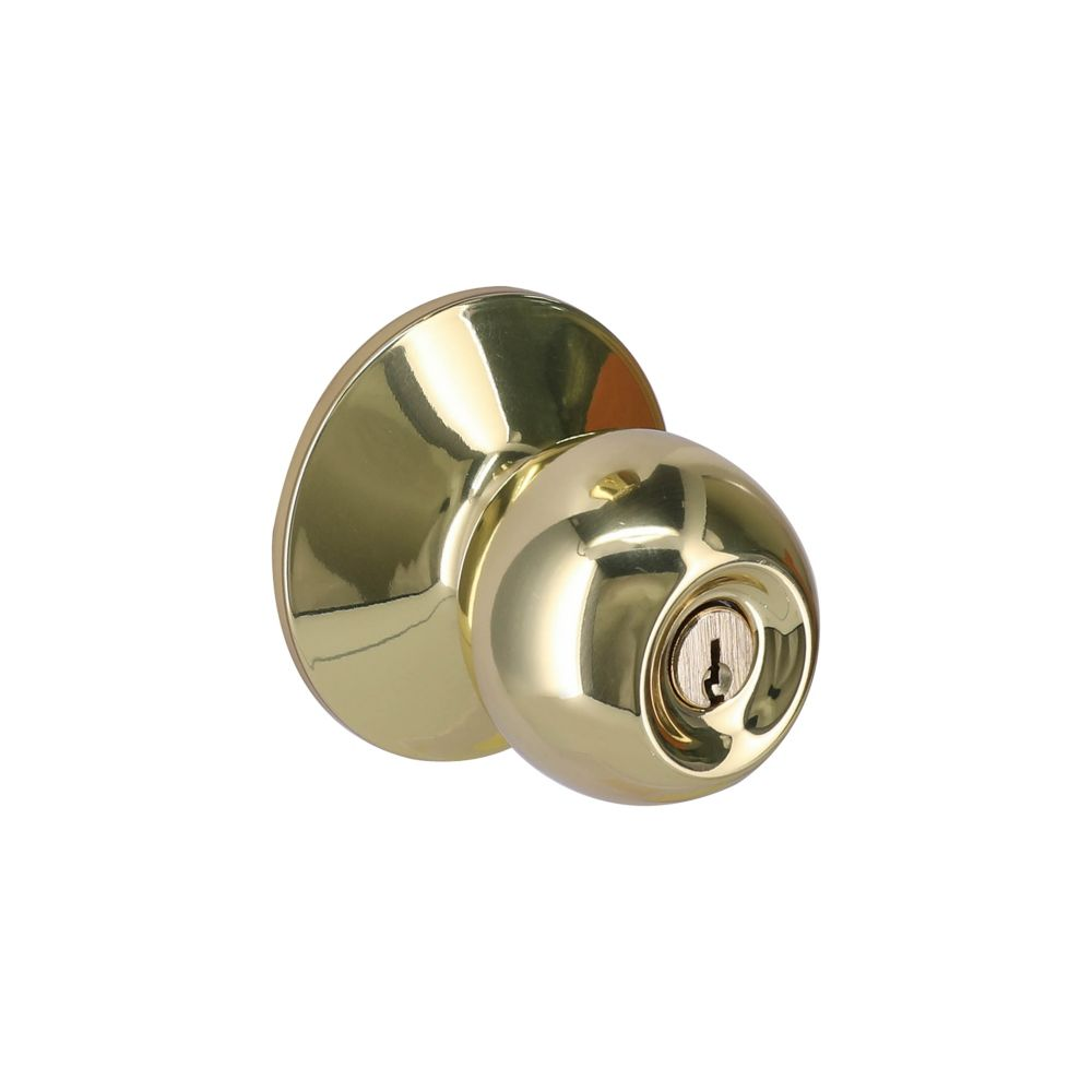 Defiant Saturn Polished Brass Entry Door Knob