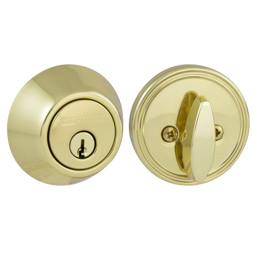 Defiant Polished Brass Single Cylinder Deadbolt