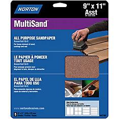 Feuilles de ponçage Multisand 9 po  po x11 po  po  grain assortis Emb. de 5 feuilles