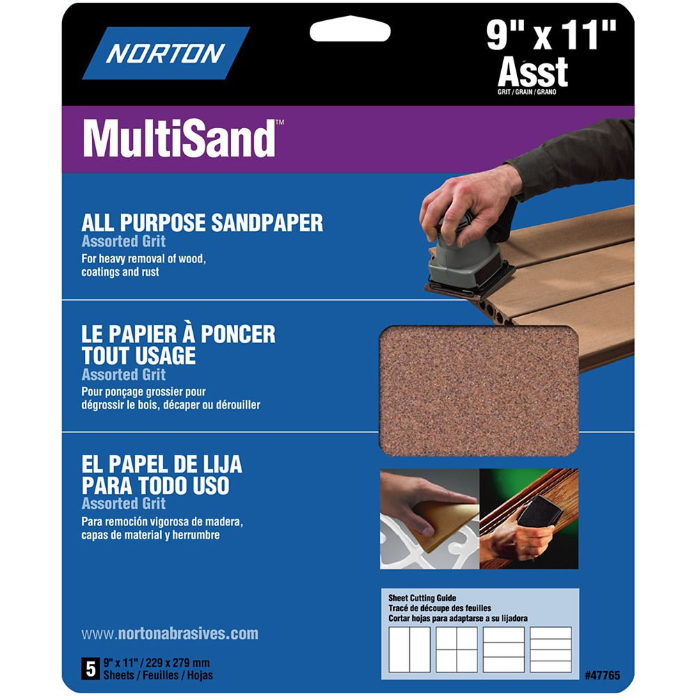 Norton MultiSand 9 inch x11 inch  Sanding Sheets Assorted  grits 5 pack