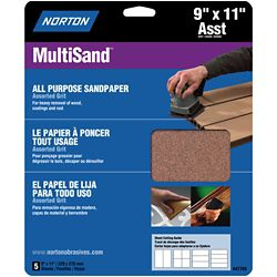 Norton MultiSand 9 inch x11 inch Sanding Sheets Assorted grits (5-Pack)