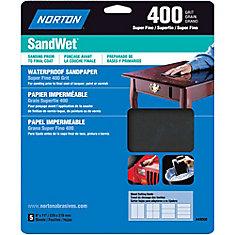 SandWet 9 inch x11 inch Sanding Sheets Super Fine-400 grit (5-Pack)