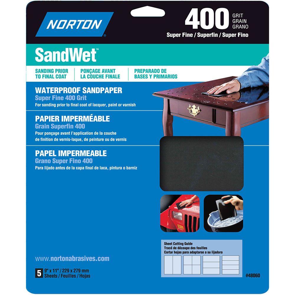 Feuilles de ponçage hydrofuge SandWet 9 pix11 pi Extra Fin-Grain 400 Emb. de 5 feuilles
