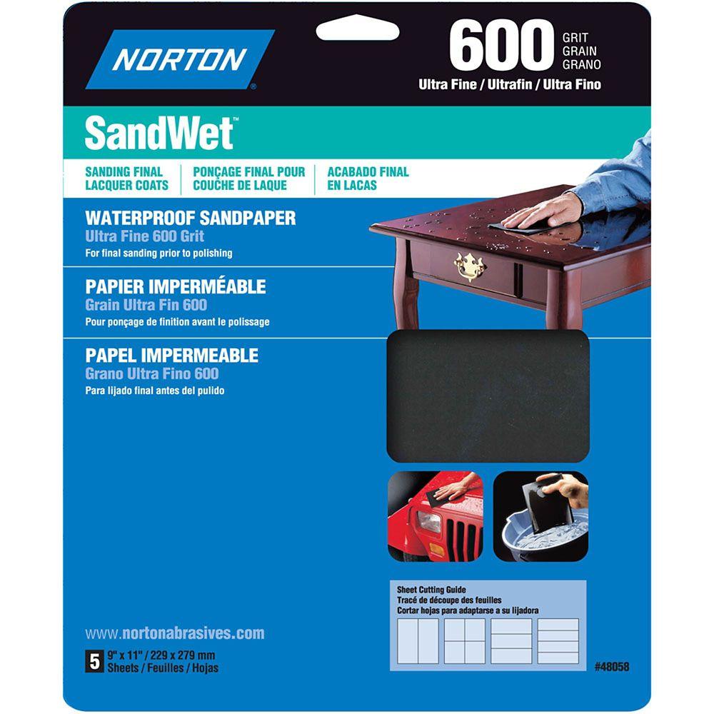 Feuilles de ponçage hydrofuge SandWet 9 pix11 pi Ultra Fin-Grain 600 Emb. de 5 feuilles