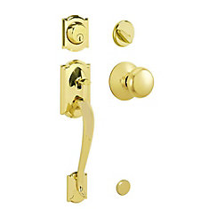Camelot Bright Brass Door Handle Set with Plymouth Knob