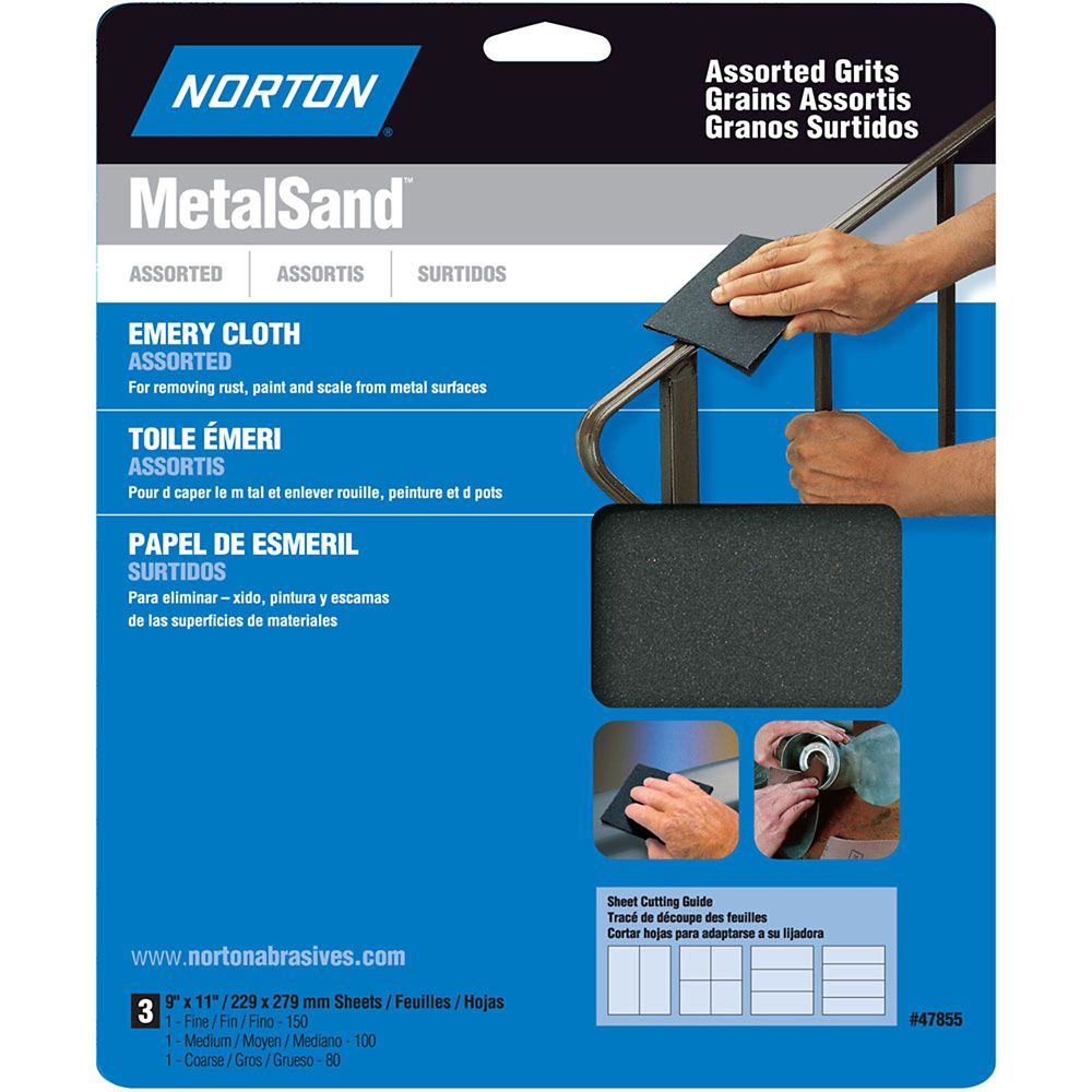 MetalSand 9 inch x11 inch  Sanding Sheets Assorted  grits 3 pack