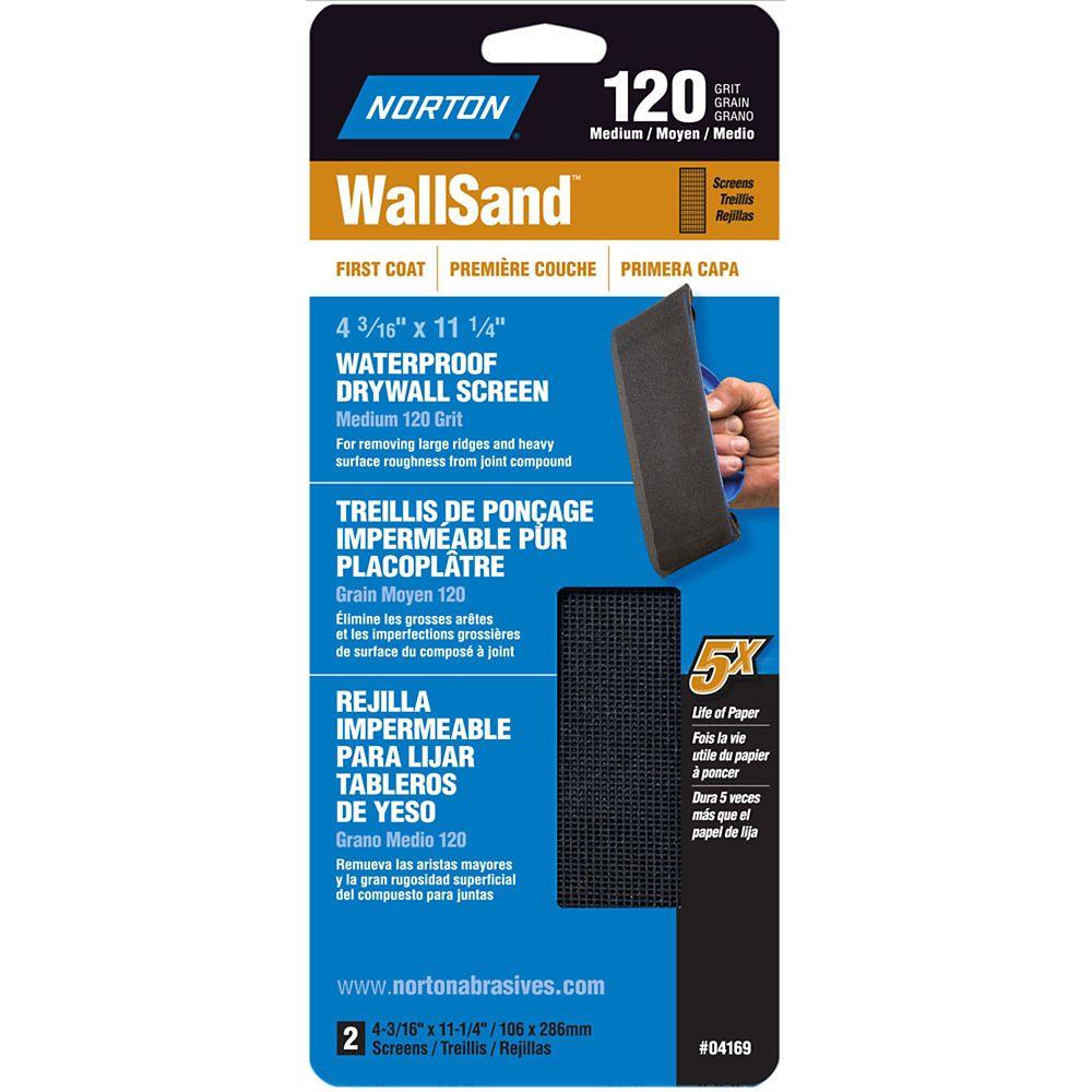 WallSand 4-3/16 inch x11-1/4 inch  Drywall Screen Medium-120 grit 2 pack