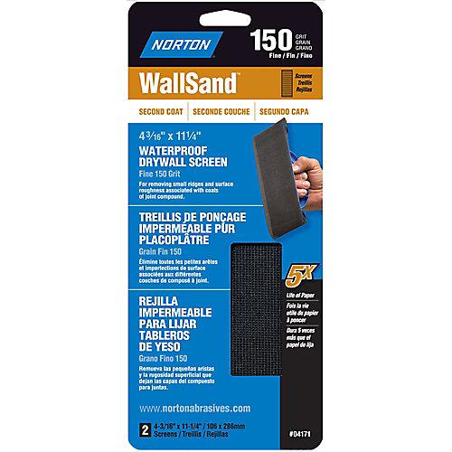 WallSand 4-3/16 inch x11-1/4 inch Drywall Screen Fine-150 grit (2-Pack)