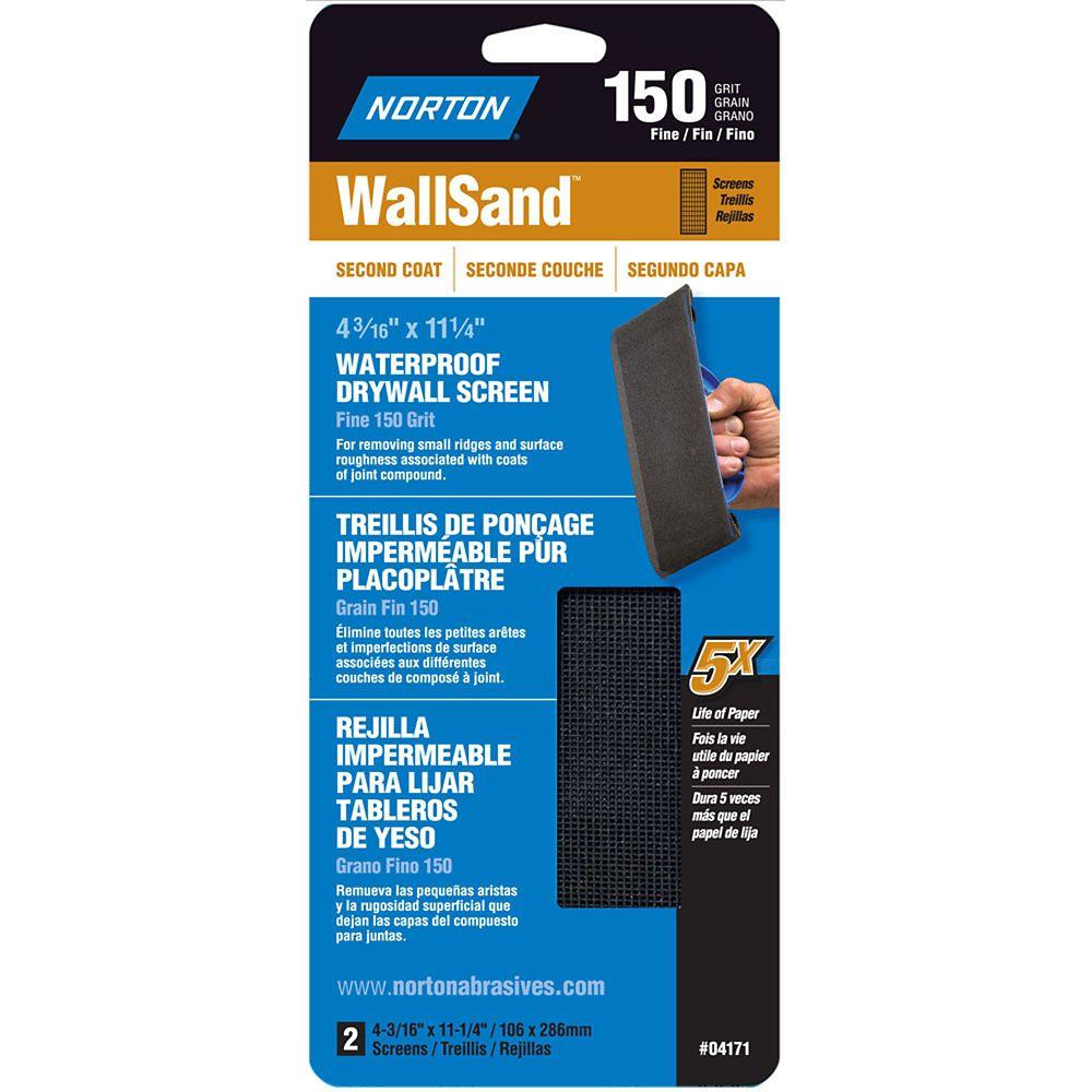 Norton WallSand 4-3/16 inch x11-1/4 inch Drywall Screen Fine-150 grit 2 pack