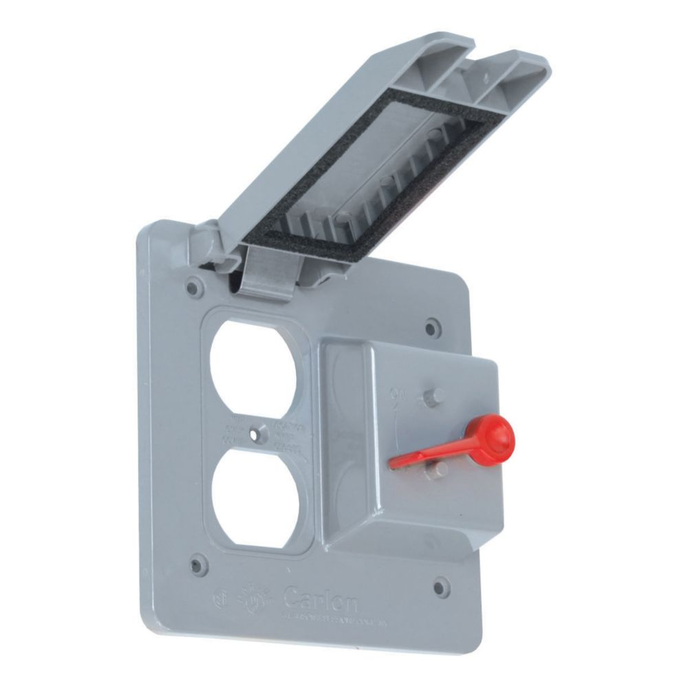 Outdoor Weatherproof  PVC Cover For One Duplex Receptacle And One Toggle Switch Device