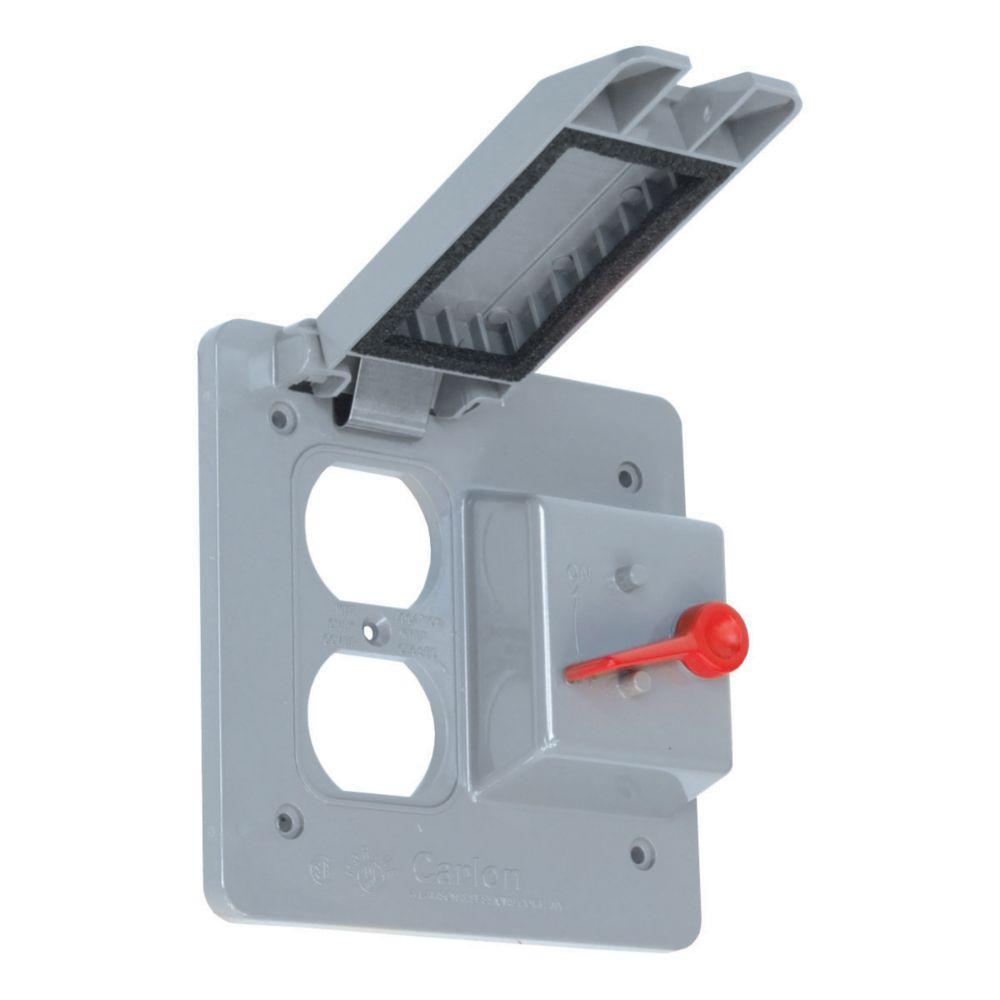 Couvercle Extérieur Étanche En PVC Pour Une Prise Double et Un Interrupteur À  Bascule