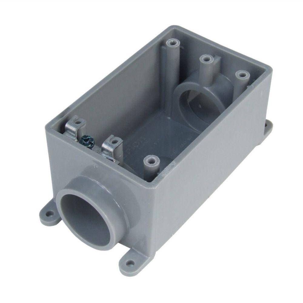 Outdoor Weatherproof  PVC Single Gang FSC Device Box � 3/4 In