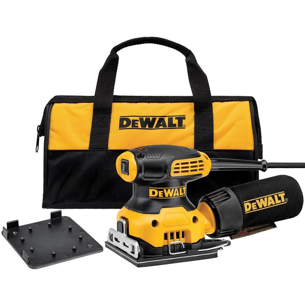 DEWALT 2.3 amp 1/4 Sheet Palm Grip Sander Kit with Contractor Bag
