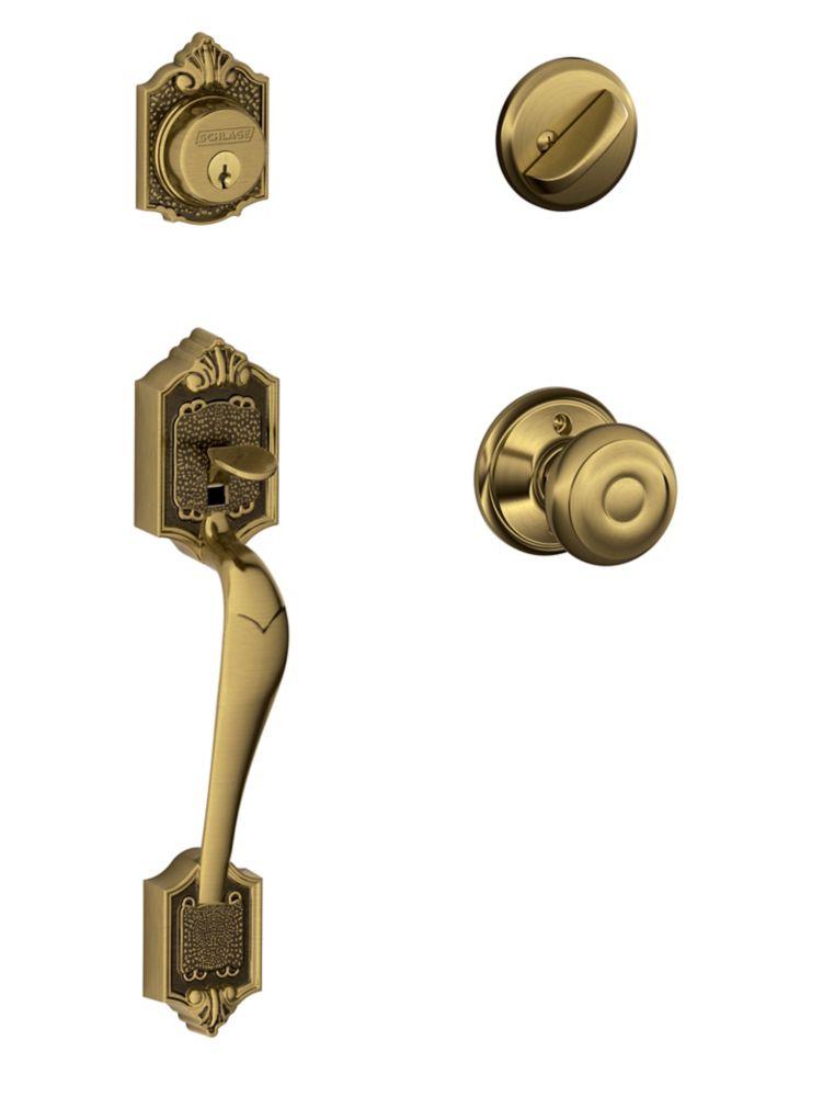 Parthenon Antique Brass Door Handle Set with Georgian Knob