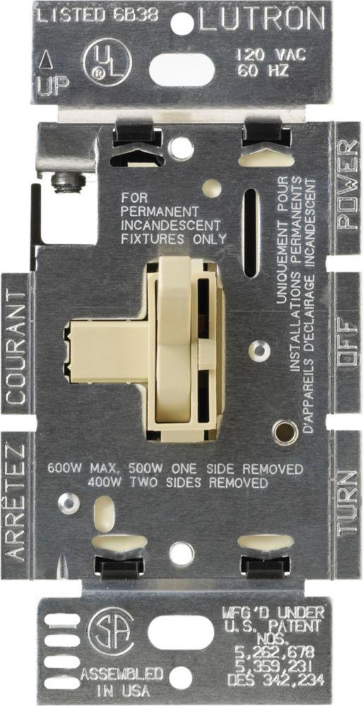 Toggler 600-Watt 3-Way Dimmer, Ivory