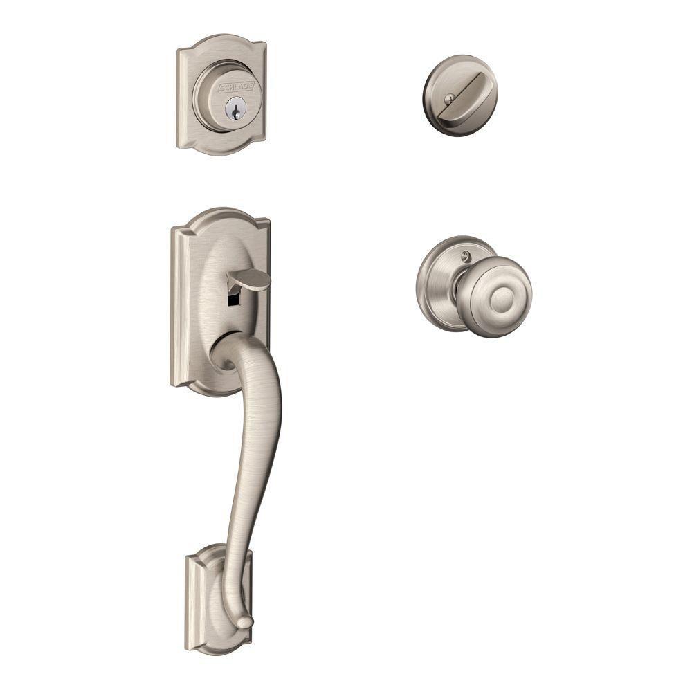 Camelot Satin Nickel Door Handle Set with Georgian Knob