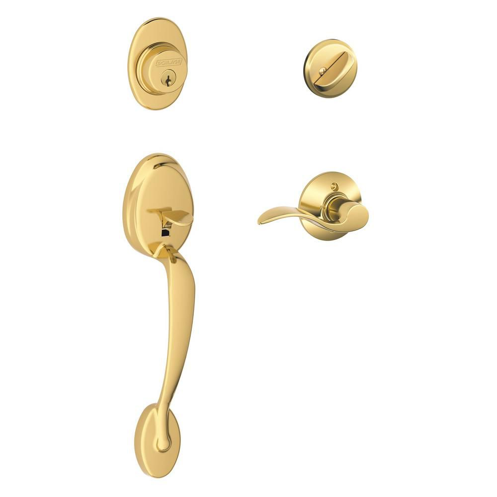 Plymouth/Accent Bright Brass Handle Set with SecureKey