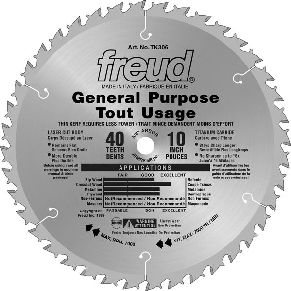 10 In. General Purpose Blade - 40 Teeth