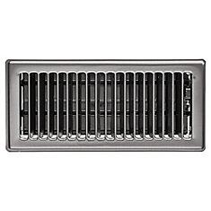 4 inch x 10 inch Floor Register - Brushed Steel