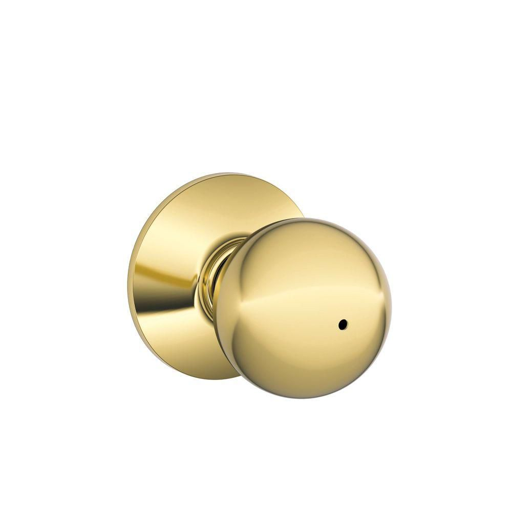 Orbit Bright Brass Locking Bed and Bath Door Knob