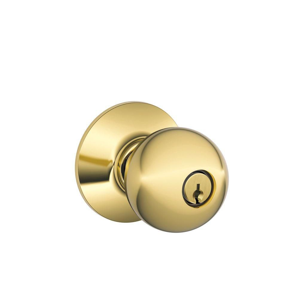 Orbit Bright Brass Keyed Door Knob