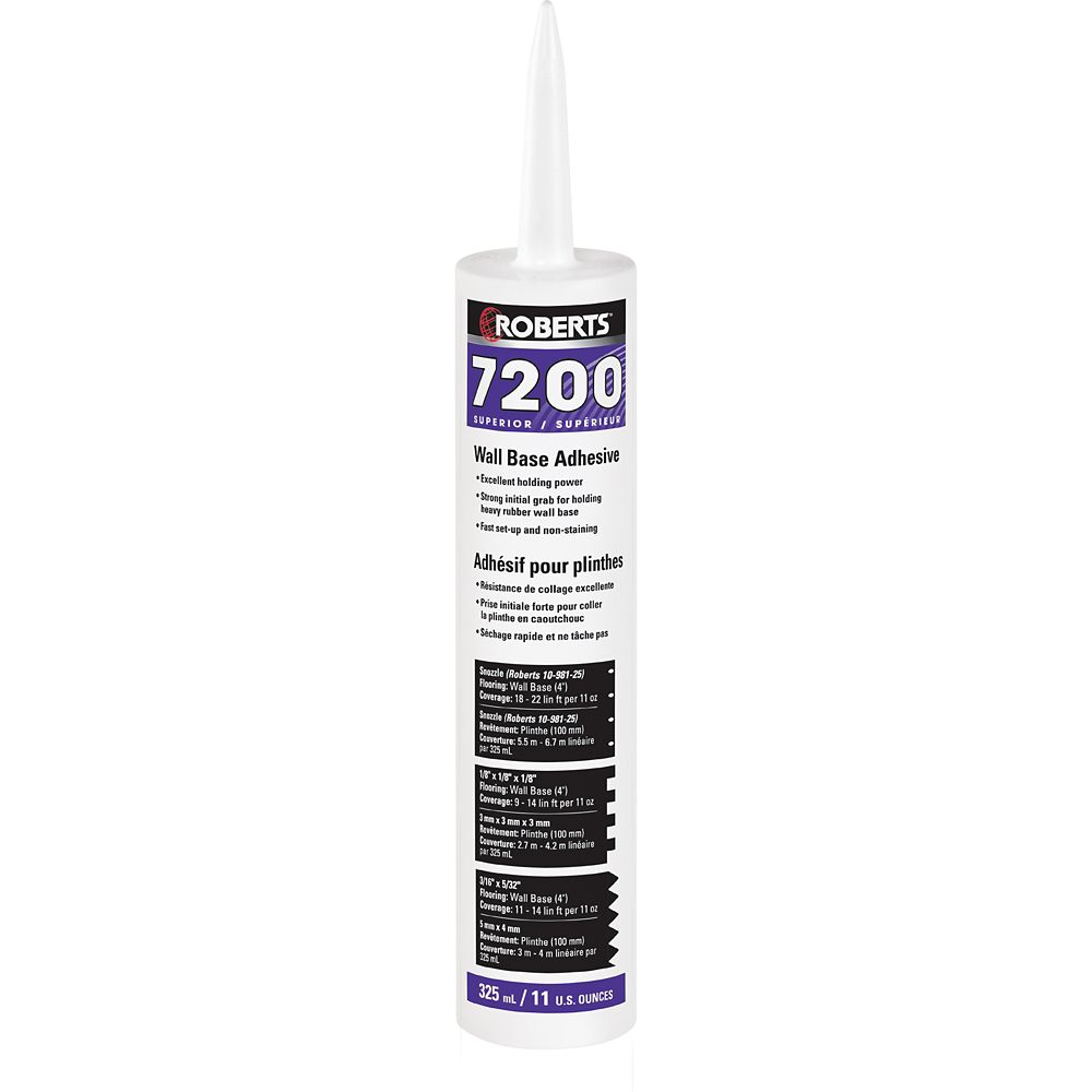 Roberts 7200, 325mL Wall Base Adhesive, Superior Grade, in Caulking Tube