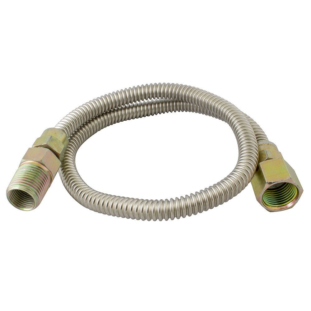 Waterline Gas Connector 1/2 inch Mip X 1/2 inch Fip X 3/8 inch Od X 12 inch Length