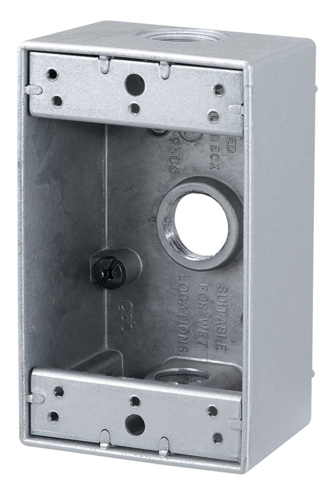 Outdoor Rectangular Box 3 x 1/2 In. Hole, Silver