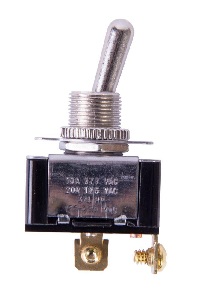 Interrupteur à bascule O/F unipolaire et unidirectionnel de 20A/125V c.a.