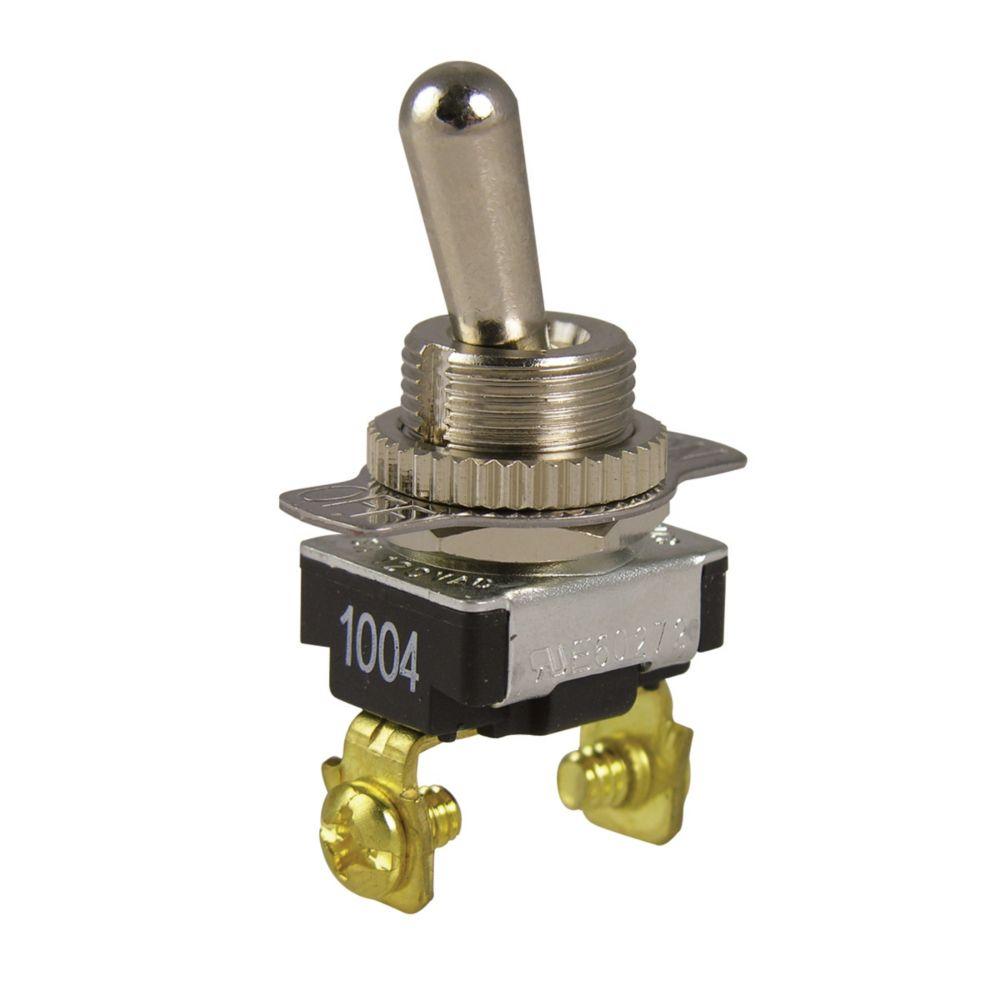 Interrupteur à bascule O/F unipolaire et unidirectionnel de 6A/120V c.a.
