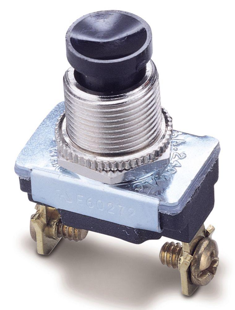 Interrupteur à bouton-poussoir normalement fermé unipolaire et unidirectionnel de 6A/125V c.a.