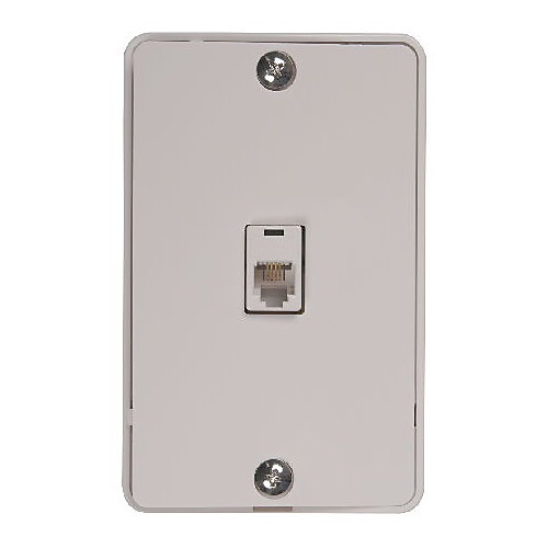 Modular Wall Phone Jack-White
