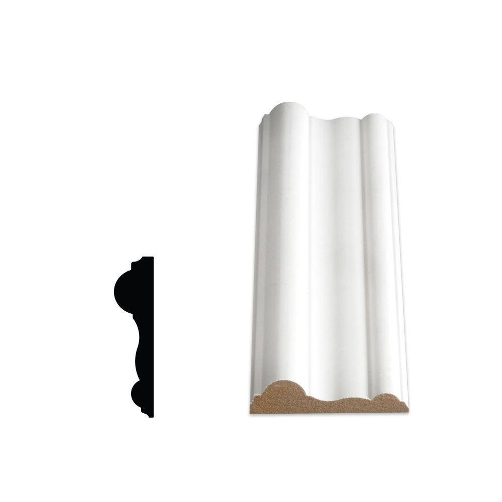 Alexandria Moulding Primed Fibreboard Chair Rail 5/8 In. X