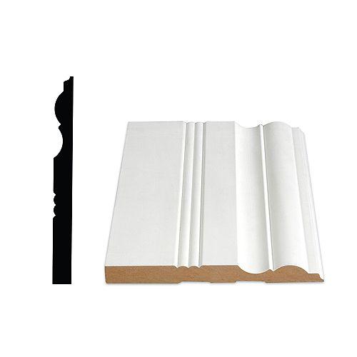 Alexandria Moulding 5/8-inch x 6 1/2-inch Victorian LDF Primed Fibreboard Baseboard Moulding